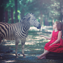 Peace by Maria Lucas - Babies & Children Child Portraits ( zebra, forest, fantasy, childhood, fine art,  )