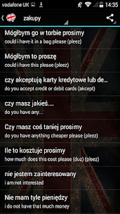 Polish to English Phrasebook - screenshot