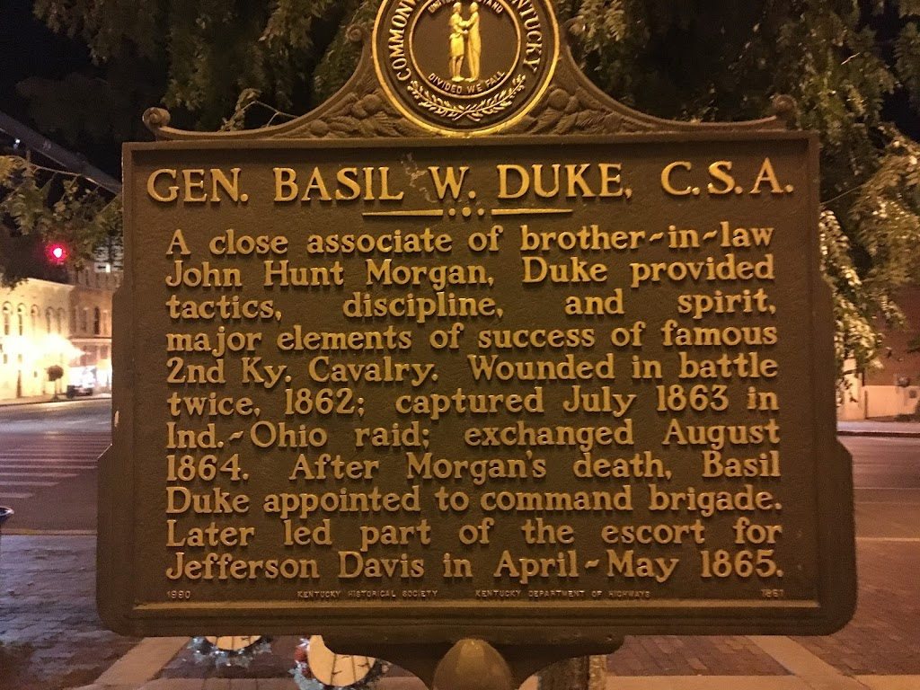 GEN. BASIL W. DUKE, C.S.A.   A close associate of brother-in-law John Hunt Morgan, Duke provided tactics, discipline, and spirit, major elements of success of famous 2nd Ky. Cavalry.  Wounded in ...