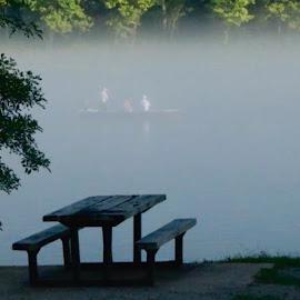 by Jennifer  Loper  - Transportation Boats ( fishermen, fog, white river )