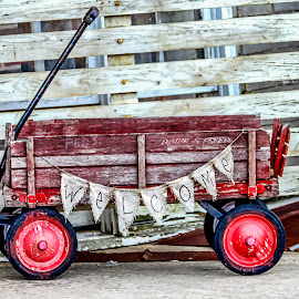 Welcome Wagon 2 by Christy Stanford - Artistic Objects Antiques ( sign, old, red, toy, vintage, wagon, welcome )