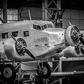 Junkers by Lieven Lema - Transportation Airplanes ( b&w, royal army museum, abl, brussels, junkers )