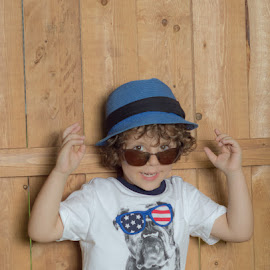 Too Cool by Chris Cavallo - Babies & Children Child Portraits ( red, sunglasses, maine, white, blue, hat, boy )