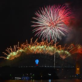 What A Night! by Kamila Romanowska - Abstract Fire & Fireworks ( new year, 2015, australia, fireworks, celebration, sydney )