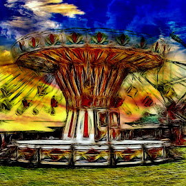 All The Fun Of The Fair... by Len  Janes - Digital Art Places ( merry go round, funfair, park, amusement park, amusement, happy, fairground, happy time )