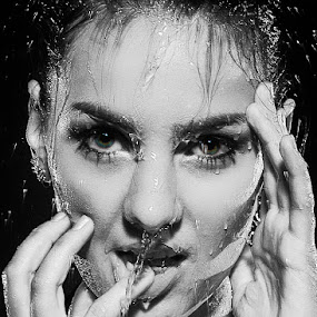 Wet by Carl0s Dennis - People Portraits of Women ( face, wet, portrait, , woman, b&w, person )