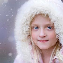 Winter by Angel Solomon Caracciolo - Babies & Children Child Portraits ( child, blonde, girl, winter, snow, blue eyes )