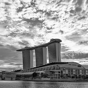 Sands of Time by Jonathan Danker - Buildings & Architecture Other Exteriors ( singapore monochrome marina bay sands epic hdr clouds architecture )
