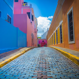 Old San Juan by George Petropoulos - City,  Street & Park  Neighborhoods ( brick, street )