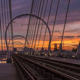 Sunset on the bridge by Nitescu Gabriel - Landscapes Travel ( clouds, scape, sunset, fujifilm, lanscape, bridge )