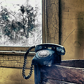 Call Waiting by Vicki Overman - Artistic Objects Antiques ( phone, rotary phone, abandoned house, antique phone, decay )