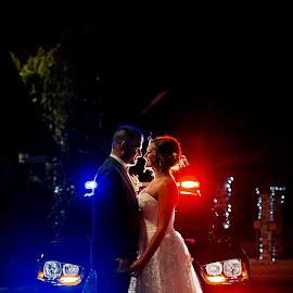 Police Back lighting by Joseph Humphries - Wedding Bride & Groom ( inlove, cruiser, cops, police, wedding, backlighting, bride, groom )
