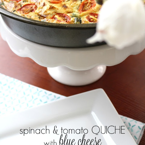 Spinach and Tomato Quiche with Blue Cheese