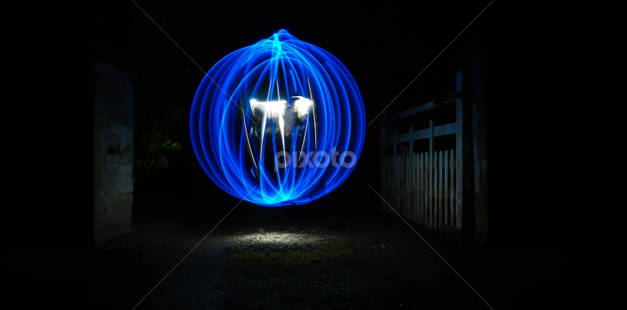Top of the Lane  by Paul Stevenson - Abstract Light Painting ( farm lane, northumberland, orb, blue, art, night, painting, light )