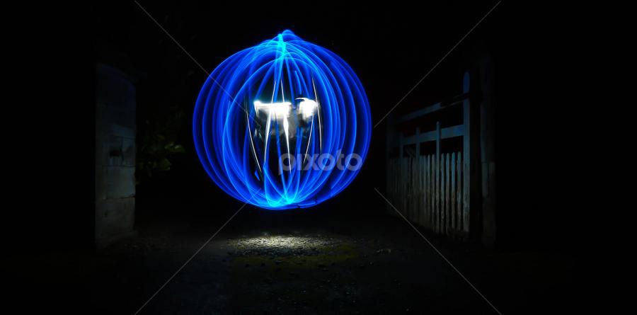 Top of the Lane  by Paul Stevenson - Abstract Light Painting ( farm lane, northumberland, orb, blue, art, night, painting, light )
