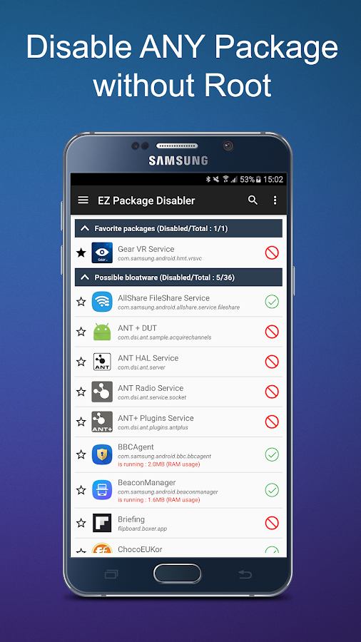 EZ Package Disabler (Samsung) Screenshot 0