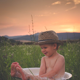 Z by Diána Barócsi - Babies & Children Toddlers ( child, sunset, bath, toddler, boy )