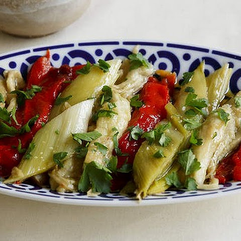 Roast Leek, Eggplant And Red Capsicum Salad
