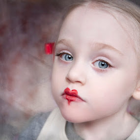Cupid by Kristen VanDeventer Rice - Babies & Children Child Portraits ( child, red, heart, texture, lips, valentine, toddler )