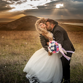 The Kiss of Light by Doru Iachim - Wedding Bride & Groom ( lights, love, wedding, bride )