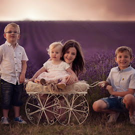 Brothers and Sisters in the Lavender by Claire Conybeare - Chinchilla Photography - Babies & Children Child Portraits
