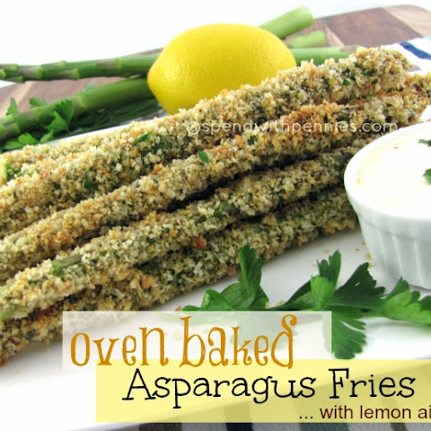 Oven Baked Asparagus Fries with Lemon Aioli