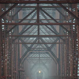 Anderson Bridge Bangladesh..... by Ashif Hasan - Transportation Railway Tracks ( anderson bridge bangladesh, foggy, railroad, color, structure, transportation, voirob bridge, light, ashif hasan, dark, red bridge, bridge, railway, lines, old voirob bridge, train )