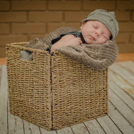 Babe in a Basket by Laura Gardner - Babies & Children Babies ( nd, texture, basket, baby, dapper dude, newborn, hat )
