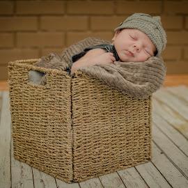 Babe in a Basket by Laura Gardner - Babies & Children Babies ( nd, texture, basket, baby, dapper dude, newborn, hat )