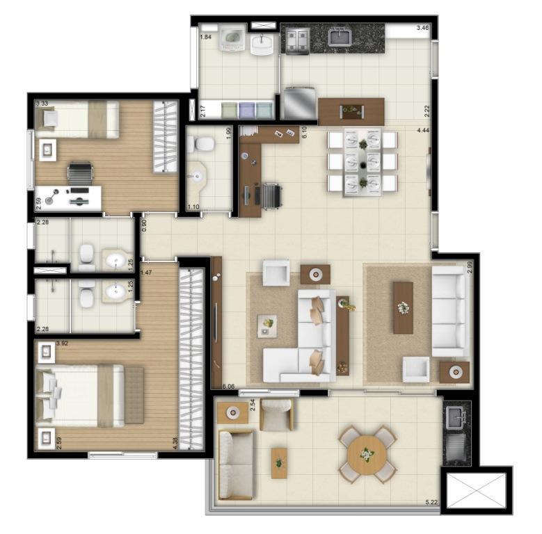 Planta Opção Final 1 e 2  - 100 m²