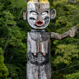 One Armed Totem by Keith Sutherland - Uncategorized All Uncategorized ( first nations, alert bay, memorial, alert bay totem, totem pole )