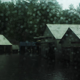 Blurred Reality by Danielle Boulger - Buildings & Architecture Other Exteriors ( raining, thunder, clouds, holiday, trees, summer, ontario, road, car, vacation, pine trees, dock, lightning, rain, rain drops, old, boat launch, boats, water, boat, outdoors, outside, river, thunderstorm, window, travel, lake )