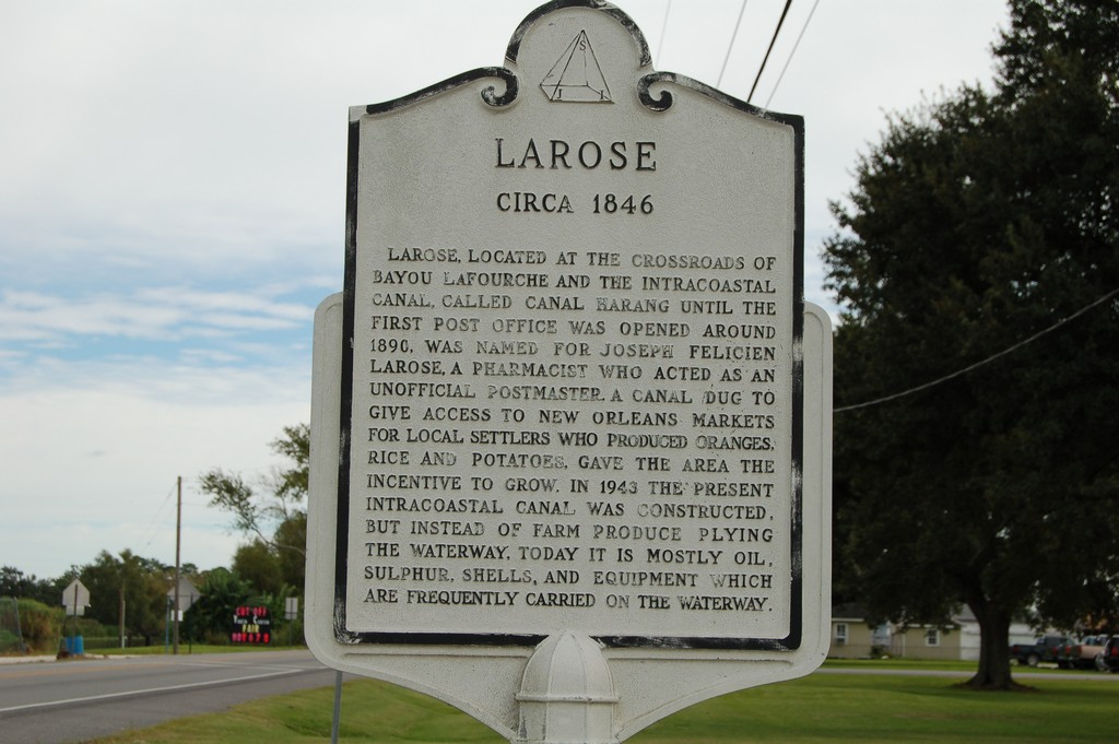 Larose, located at the crossroads of Bayou Lafourche and the Intercoastal Canal, called Canal Harang until the first Post Office was opened around 1890. Was named for Joseph Felicien Larose, a ...