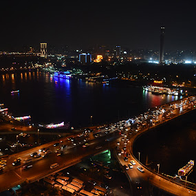 Nilecity by Mica Parada Larrosa - City,  Street & Park  Vistas ( cairo, al cahira, night, nile, egipto, egypt, city )