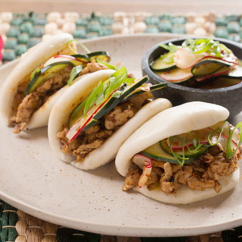 Chicken Steam Buns with French Breakfast Radish & Cucumber Kimchi