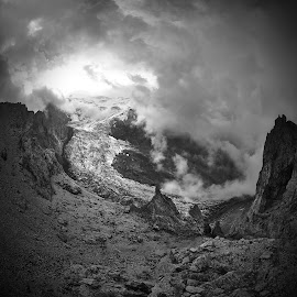 Elbrus by Александр Агабабаев - Black & White Landscapes ( mountains, sunset, snow, cloud, rock )