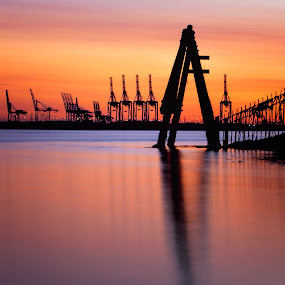 Sunset reflections in the dock by Andy Young - Landscapes Sunsets & Sunrises ( silhouette, sunset, river solvent, southamton, dock cranes )