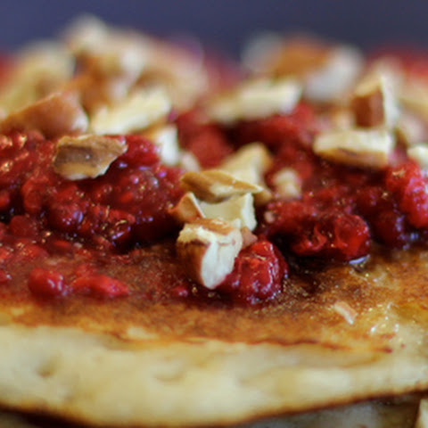 Coconut Flour Pancakes with Pecans and Raspberries
