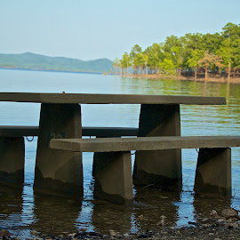 No Picnic Today! by Kathy Suttles - Artistic Objects Other Objects ( outdoors, high-water, lake, table, picnic table )