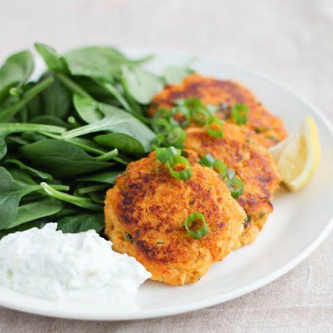 Sweet Potato Salmon Cakes with Tzatziki