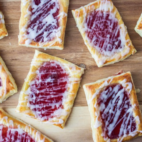 Strawberry Breakfast Pastries with Rosewater Glaze