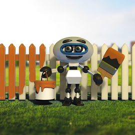 Painting the Fence by Charlie Alolkoy - Illustration Cartoons & Characters ( work, fence, yard, lawn, paint, robot )