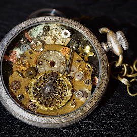 Mess by Marco Bertamé - Artistic Objects Other Objects ( pocket, watch, gear wheel, silver, round, circle, yellow, steampunk, golden )