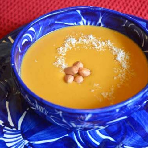 Clean Eating Sweet Potato Soup with Peanut Butter and Coconut Milk