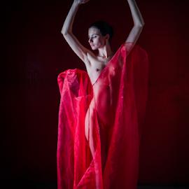 dancin' in red by Reto Heiz - Nudes & Boudoir Artistic Nude ( on loaction, fashion, akt, outdoor, lena filanea, portrait )