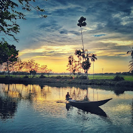 A Colourful Journey by Avijit Bhakta - Landscapes Waterscapes ( naturelovers, clouds, afternoon, beautiful, journey, landscape, sky, tree, nature, sunset, cloud, trees, natural, evening,  )