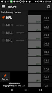 TopLine: Live DFS Leaderboard - screenshot
