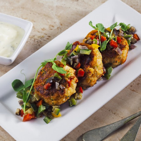 Lobster Cakes with Roasted Vegetable Relish