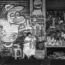 C'est la vie by Jesus Giraldo - City,  Street & Park  Street Scenes ( urban, graffiti, woman, street, baby )