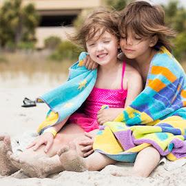 Sibling Love by Katie Shutter Bunny Meadows - Babies & Children Children Candids ( child, sand, children, ocean, beach, kids, smile, cute,  )